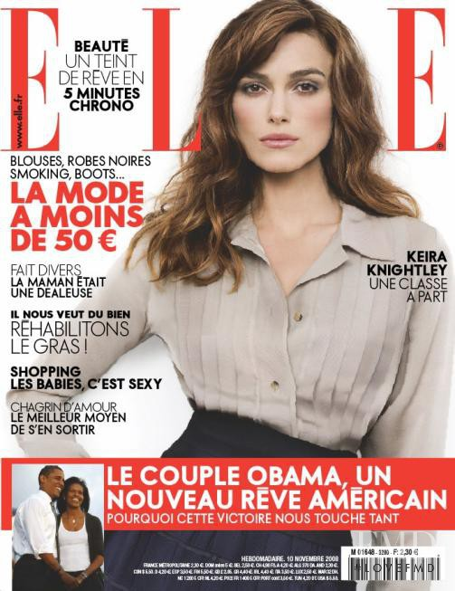 Keira Knightley featured on the Elle France cover from November 2008