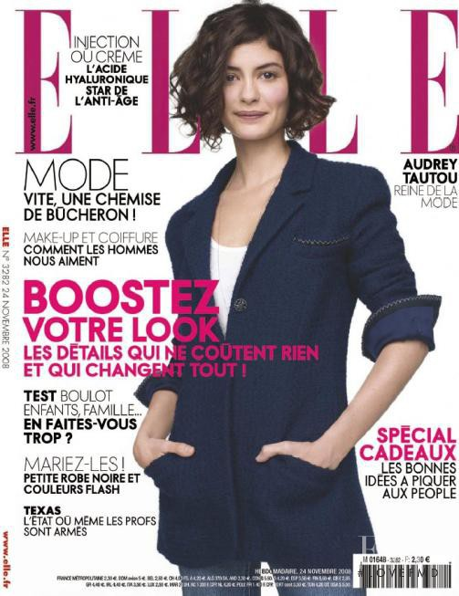 Audrey Tautou featured on the Elle France cover from November 2008