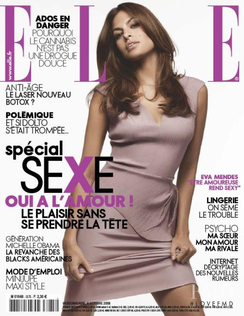 Eva Mendes featured on the Elle France cover from October 2008