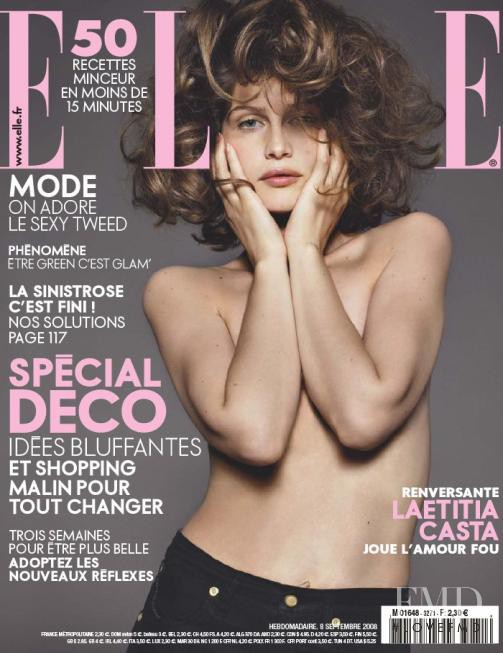 Laetitia Casta featured on the Elle France cover from September 2008