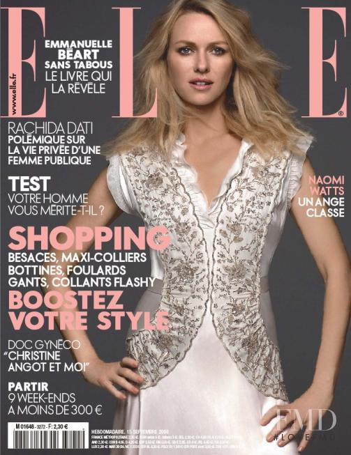 Naomi Watts featured on the Elle France cover from September 2008