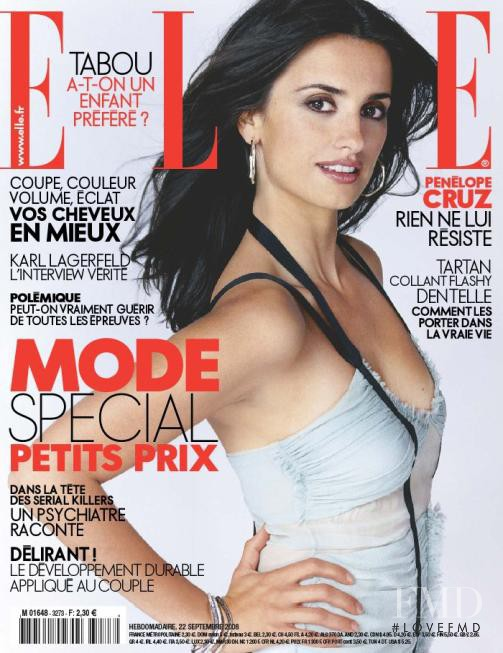 Penelope Cruz featured on the Elle France cover from September 2008