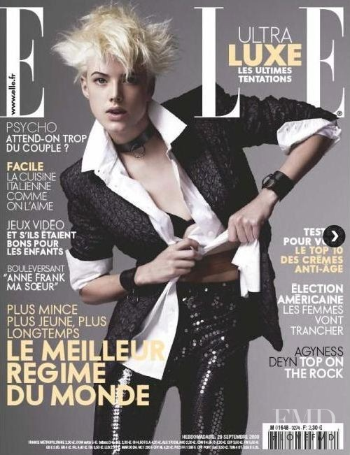 Agyness Deyn featured on the Elle France cover from September 2008