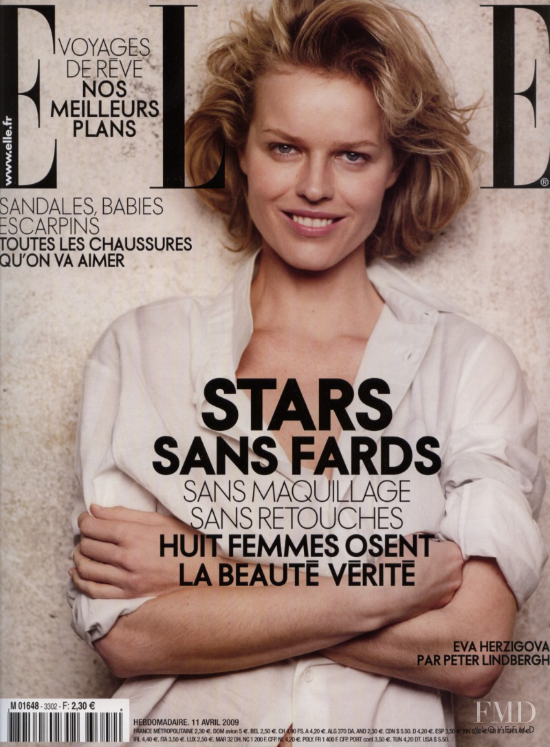 Eva Herzigova featured on the Elle France cover from April 2009