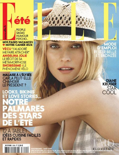 Diane Heidkruger featured on the Elle France cover from August 2009
