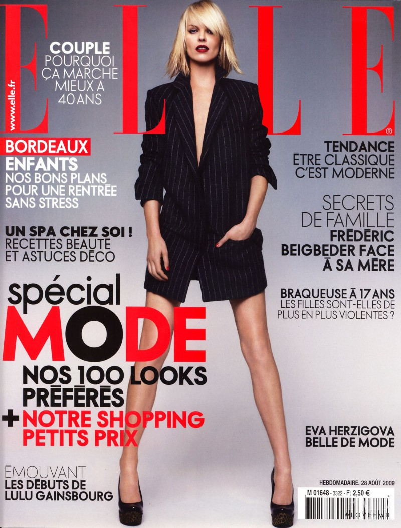 Eva Herzigova featured on the Elle France cover from August 2009