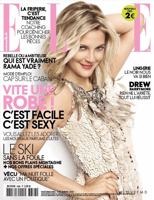 Drew Barrymore featured on the Elle France cover from December 2009