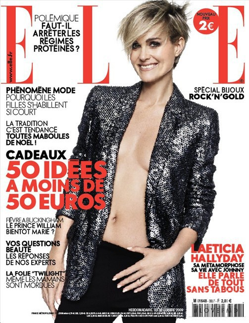 Laeticia Hallyday featured on the Elle France cover from December 2009