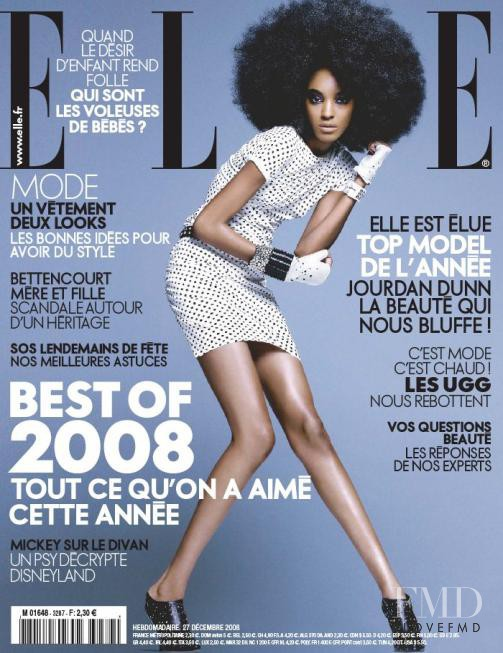 Jourdan Dunn featured on the Elle France cover from December 2009