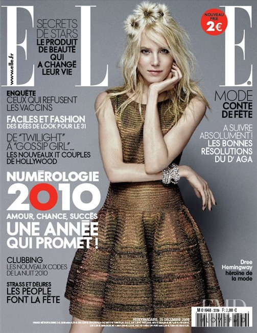Dree Hemingway featured on the Elle France cover from December 2009