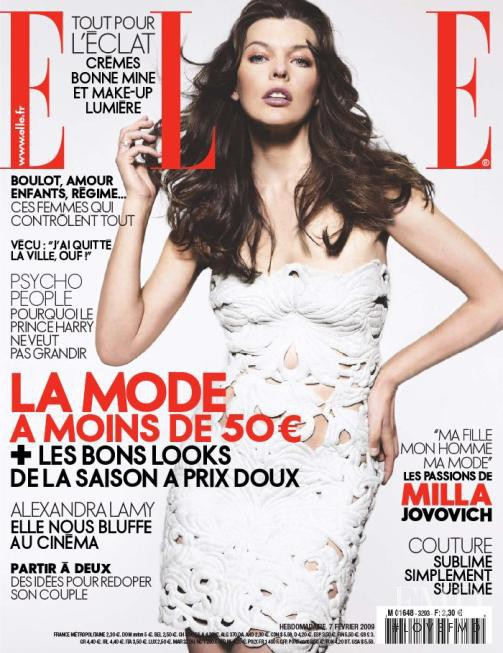 Milla Jovovich featured on the Elle France cover from February 2009