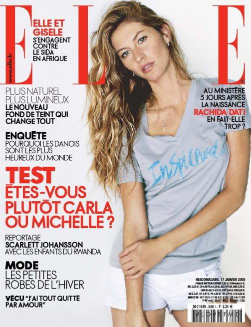 Gisele Bundchen featured on the Elle France cover from January 2009