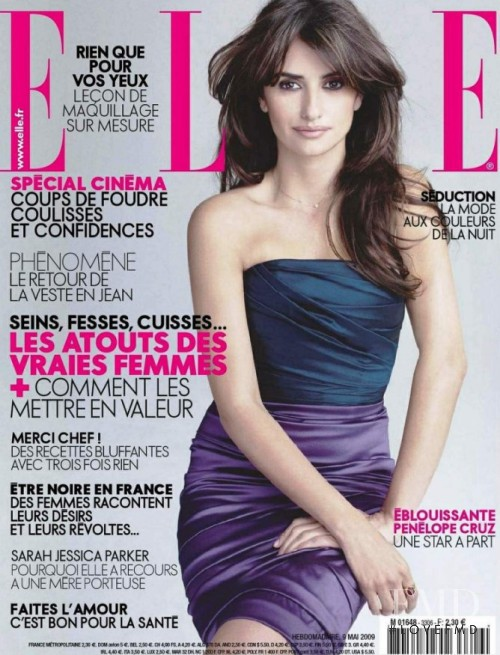 Penelope Cruz featured on the Elle France cover from May 2009