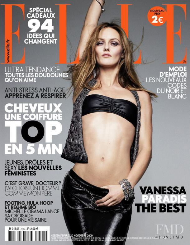 Vanessa Paradis featured on the Elle France cover from November 2009