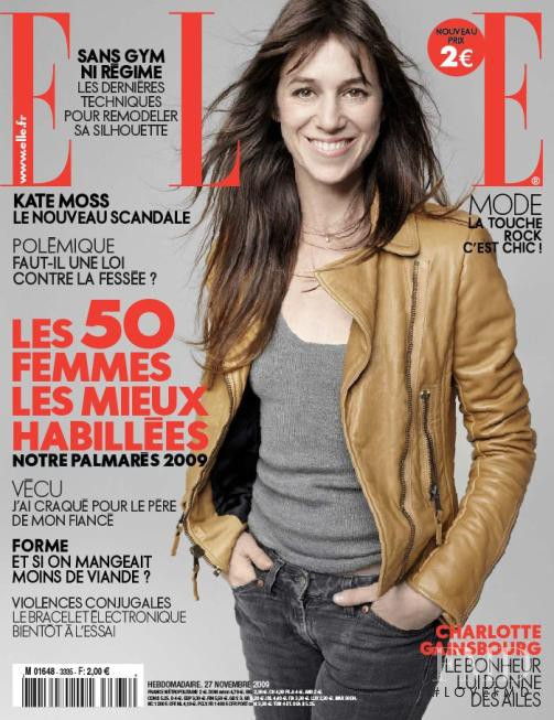 Charlotte Gainsbourg featured on the Elle France cover from November 2009