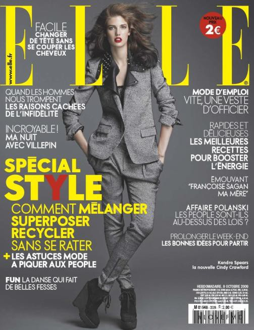 Kendra Spears featured on the Elle France cover from October 2009