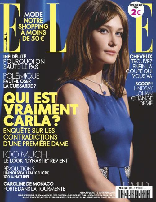 Carla Bruni featured on the Elle France cover from September 2009