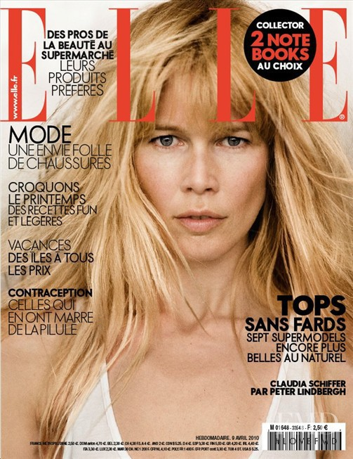 Claudia Schiffer featured on the Elle France cover from April 2010