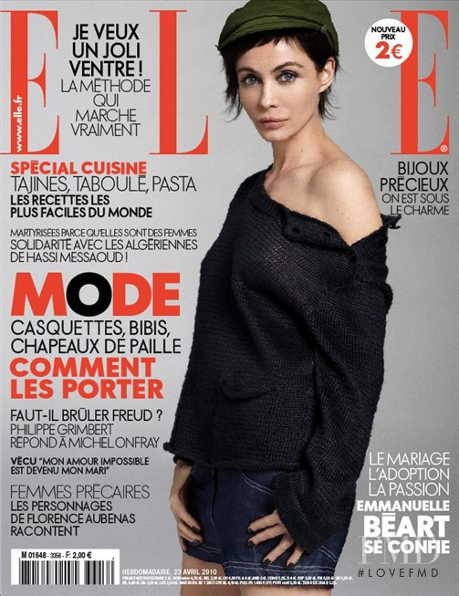 Emmanuelle Beart featured on the Elle France cover from April 2010