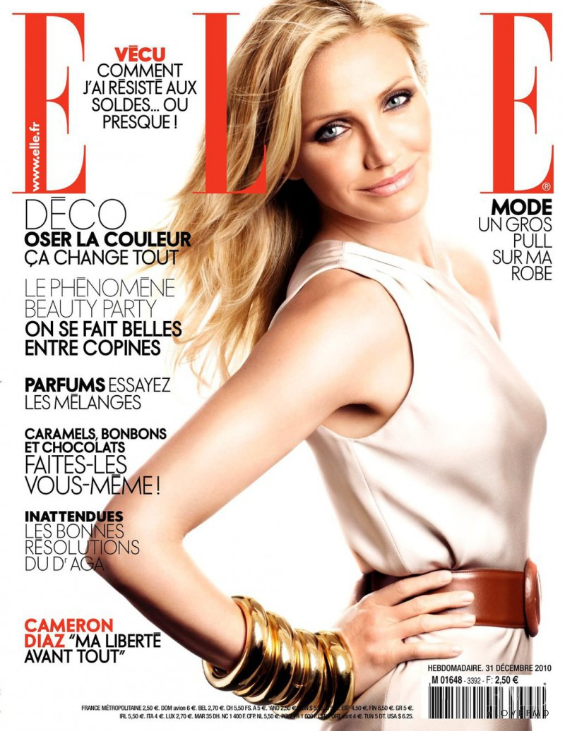 Cameron Diaz featured on the Elle France cover from December 2010