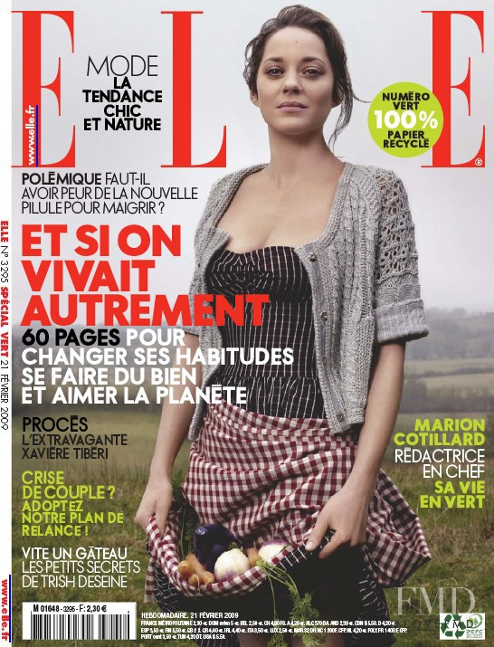 Marion Cotillard featured on the Elle France cover from February 2010