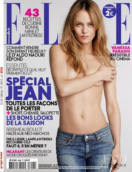 Vanessa Paradis featured on the Elle France cover from February 2010