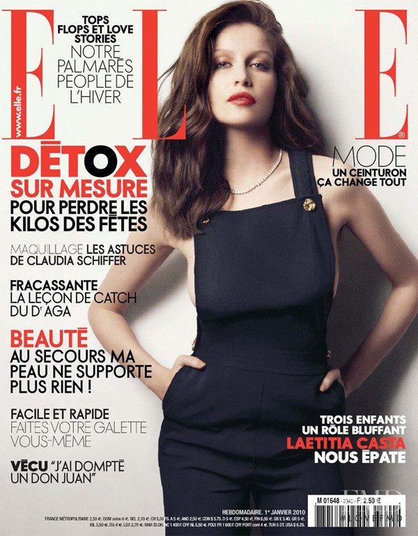 Laetitia Casta featured on the Elle France cover from January 2010