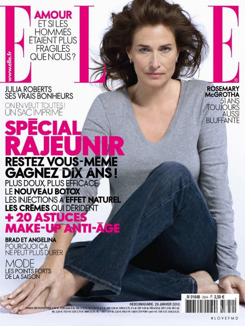 Rosemary McGrotha featured on the Elle France cover from January 2010