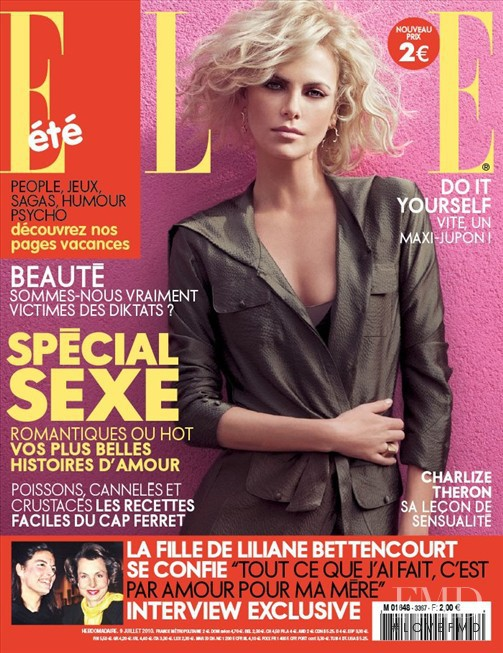 Charlize Theron featured on the Elle France cover from July 2010