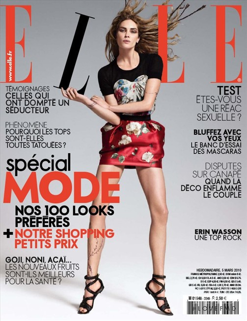featured on the Elle France cover from March 2010