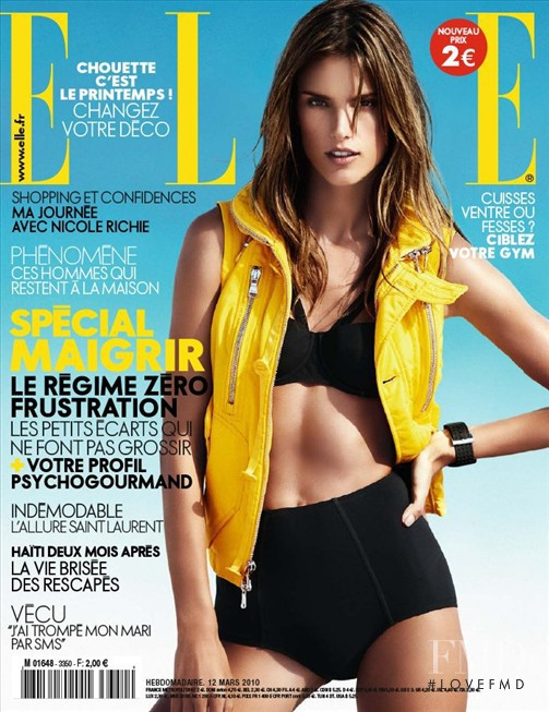 Alessandra Ambrosio featured on the Elle France cover from March 2010