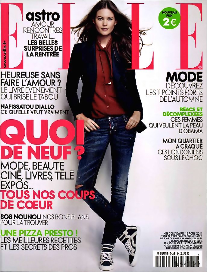 Behati Prinsloo featured on the Elle France cover from August 2011