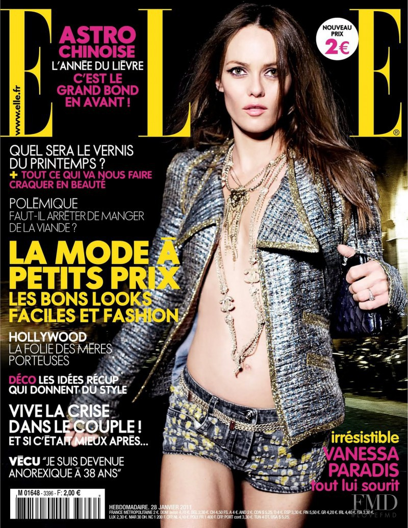 Vanessa Paradis featured on the Elle France cover from January 2011