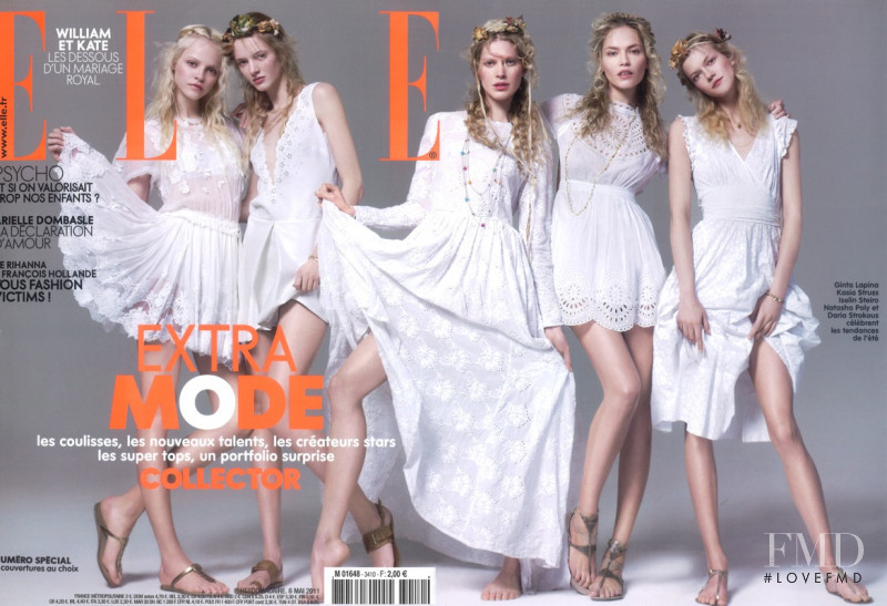 Iselin Steiro, Natasha Poly, Ginta Lapina, Kasia Struss, Daria Strokous featured on the Elle France cover from May 2011