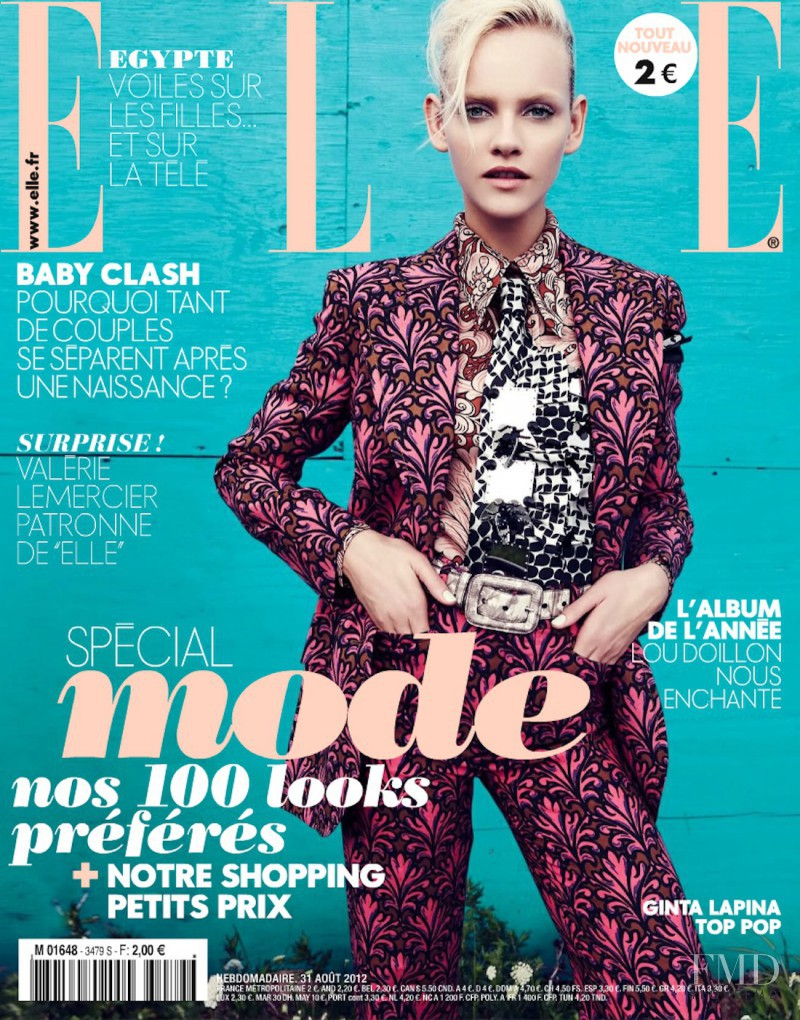 Ginta Lapina featured on the Elle France cover from August 2012