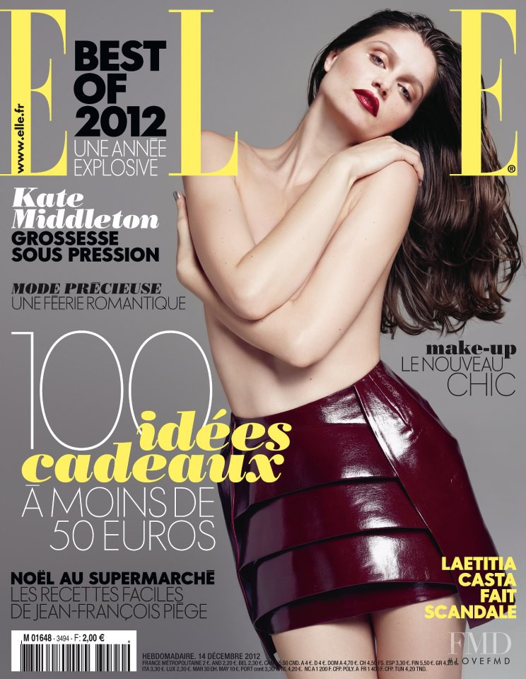 Laetitia Casta featured on the Elle France cover from December 2012