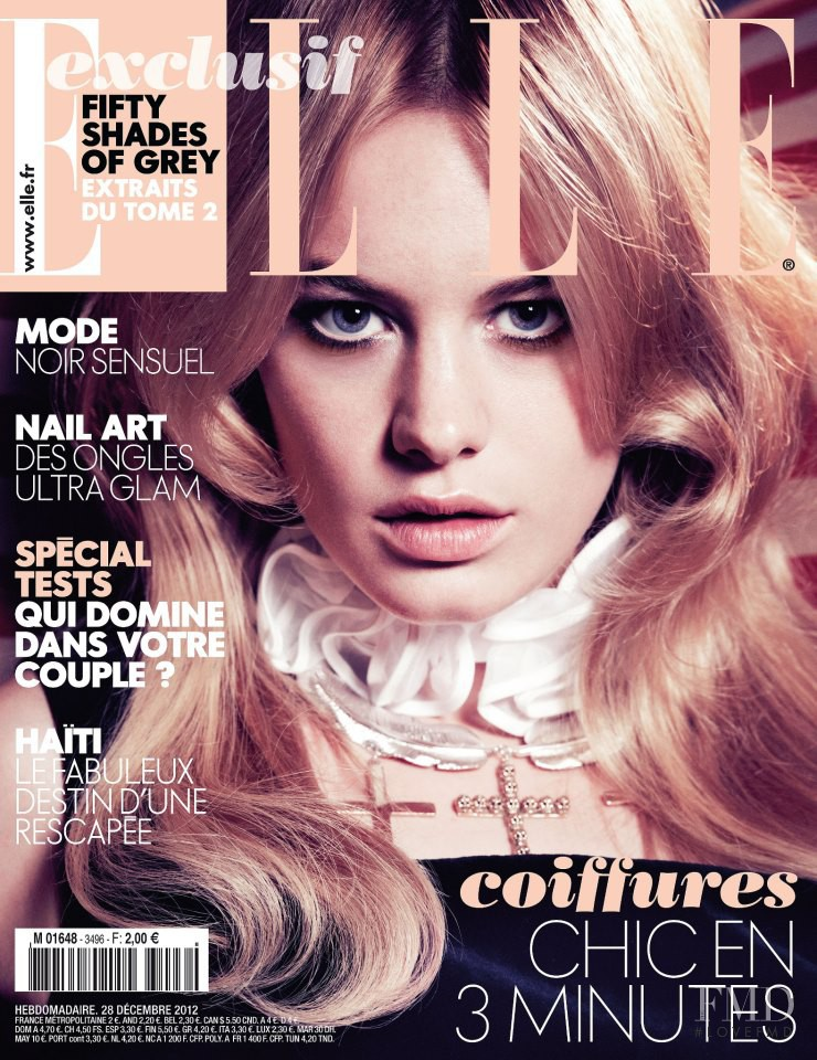 Camille Rowe featured on the Elle France cover from December 2012