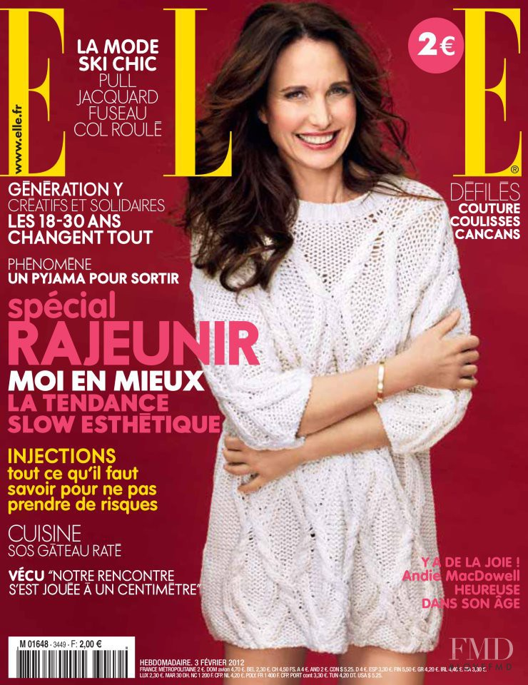 Andie MacDowell featured on the Elle France cover from February 2012