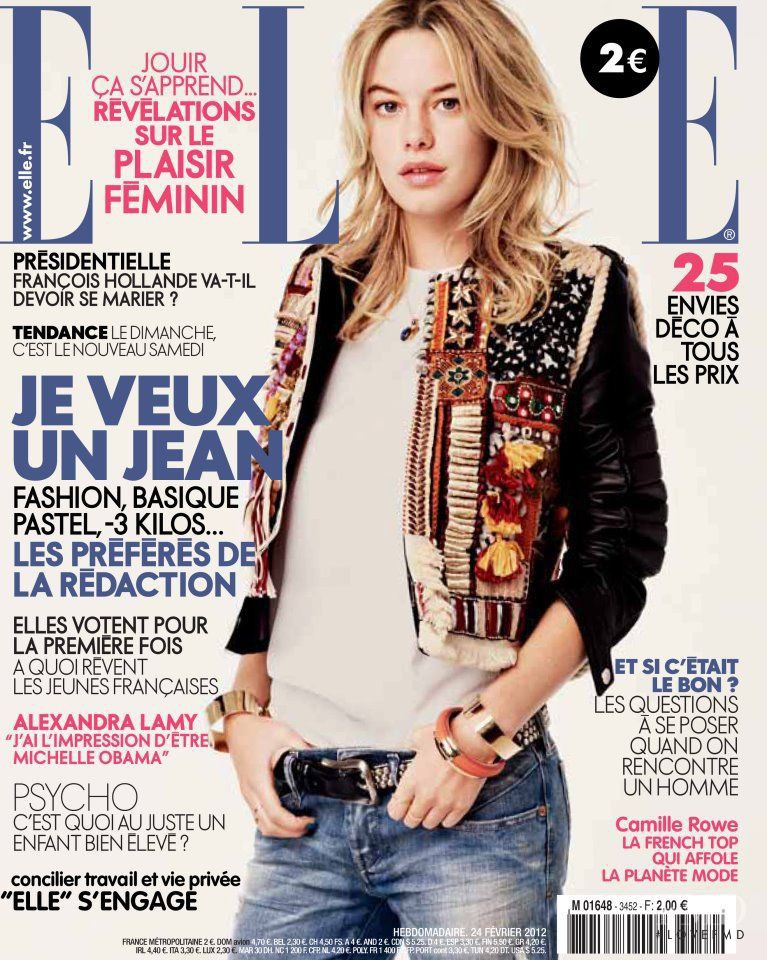 Camille Rowe featured on the Elle France cover from February 2012