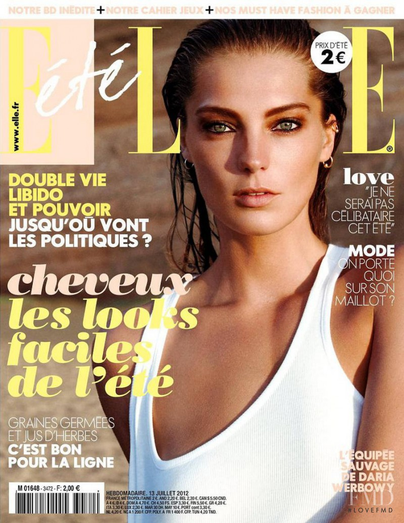 Daria Werbowy featured on the Elle France cover from July 2012