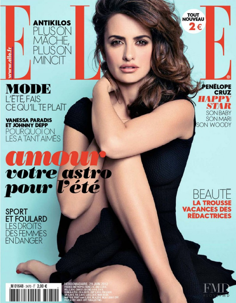 Penélope Cruz featured on the Elle France cover from June 2012