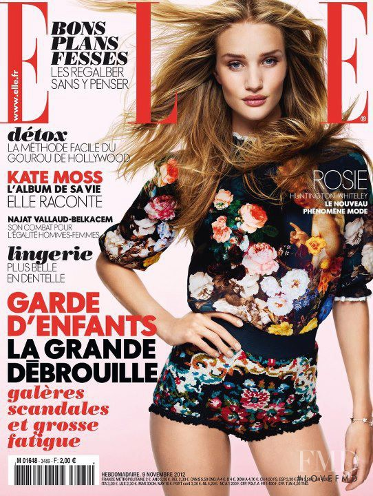 Rosie Huntington-Whiteley featured on the Elle France cover from November 2012