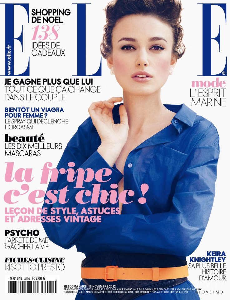 Keira Knightley featured on the Elle France cover from November 2012