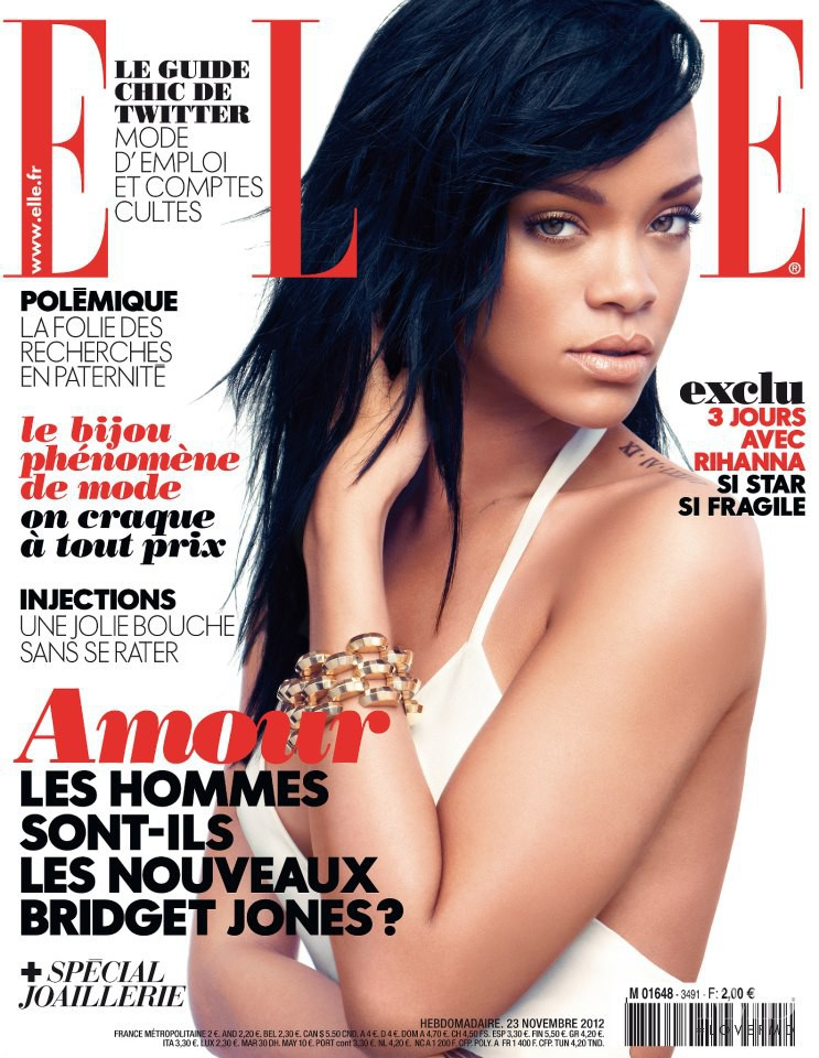 Rihanna featured on the Elle France cover from November 2012