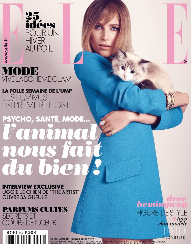 Dree Hemingway featured on the Elle France cover from November 2012