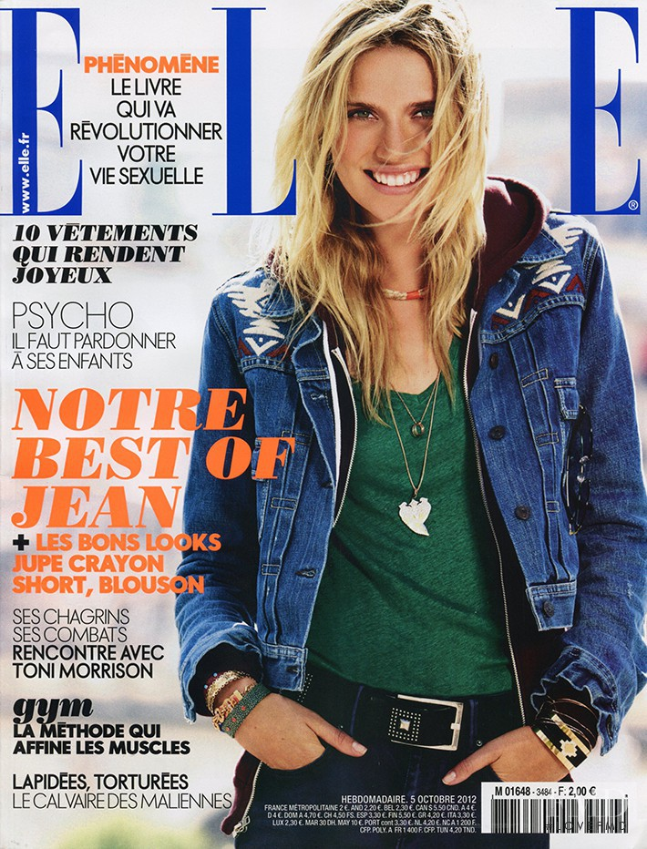 Cato van Ee featured on the Elle France cover from October 2012