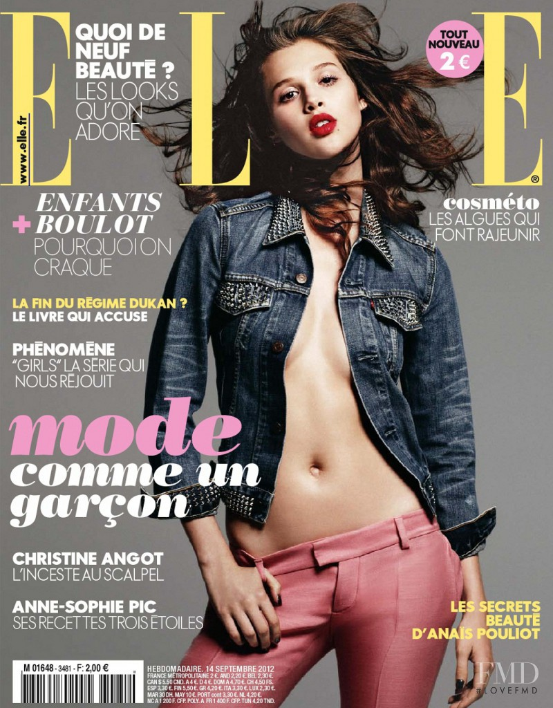 Anais Pouliot featured on the Elle France cover from September 2012
