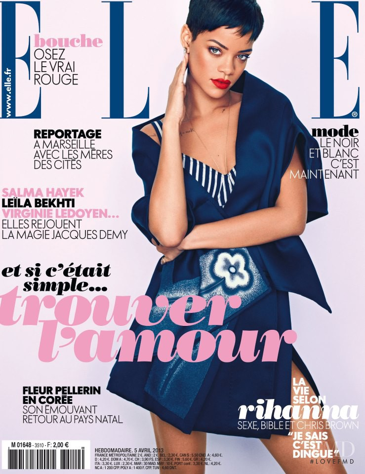 Rihanna featured on the Elle France cover from April 2013