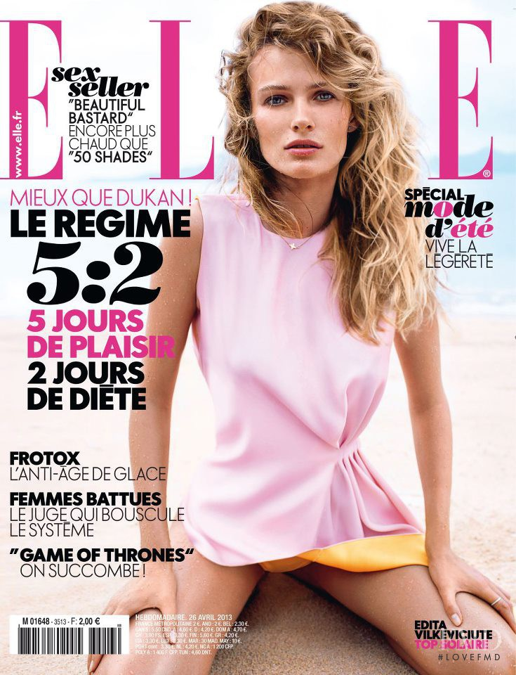 Edita Vilkeviciute featured on the Elle France cover from April 2013