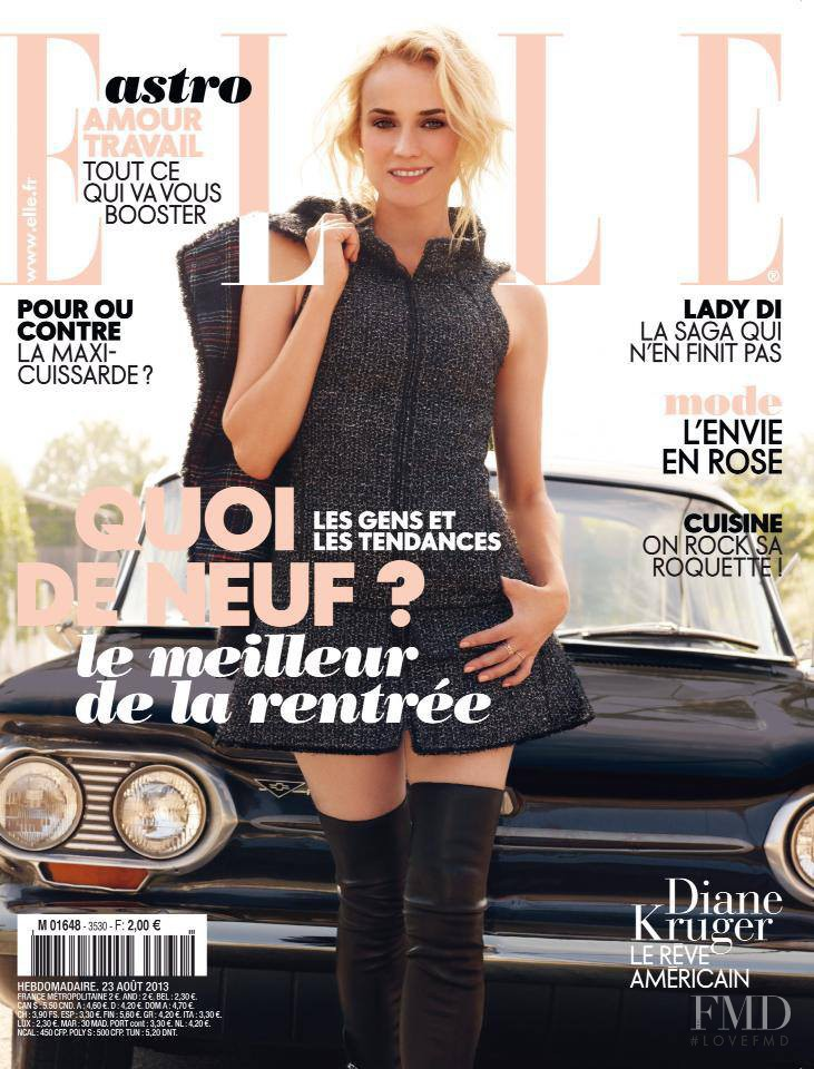 Diane Heidkruger featured on the Elle France cover from August 2013